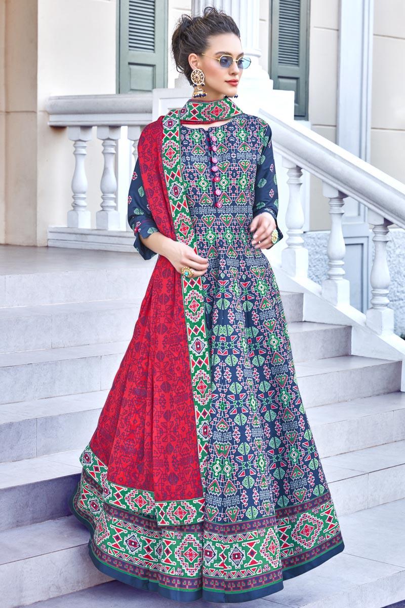 Occasion Wear Blue Color Printed Readymade Anarkali Salwar Kameez