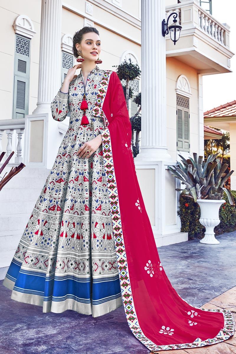 Printed Grey Color Art Silk Fabric Readymade Anarkali Salwar Suit