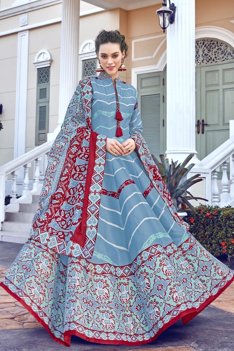 Art Silk Fabric Light Cyan Color Readymade Anarkali Suit