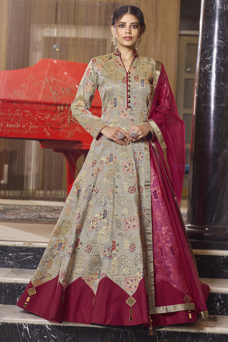 Jacquard Fabric Function Wear Readymade Dark Beige Color Anarkali With Leggings