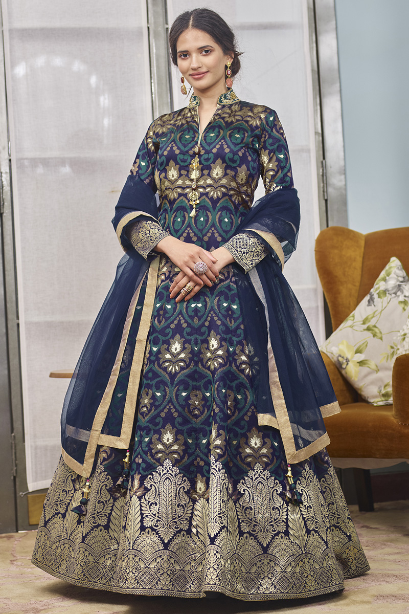 Function Wear Navy Blue Color Jacquard Fabric Readymade Anarkali With Leggings