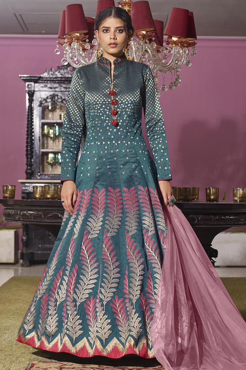 Jacquard Fabric Function Wear Readymade Anarkali With Leggings In Grey Color