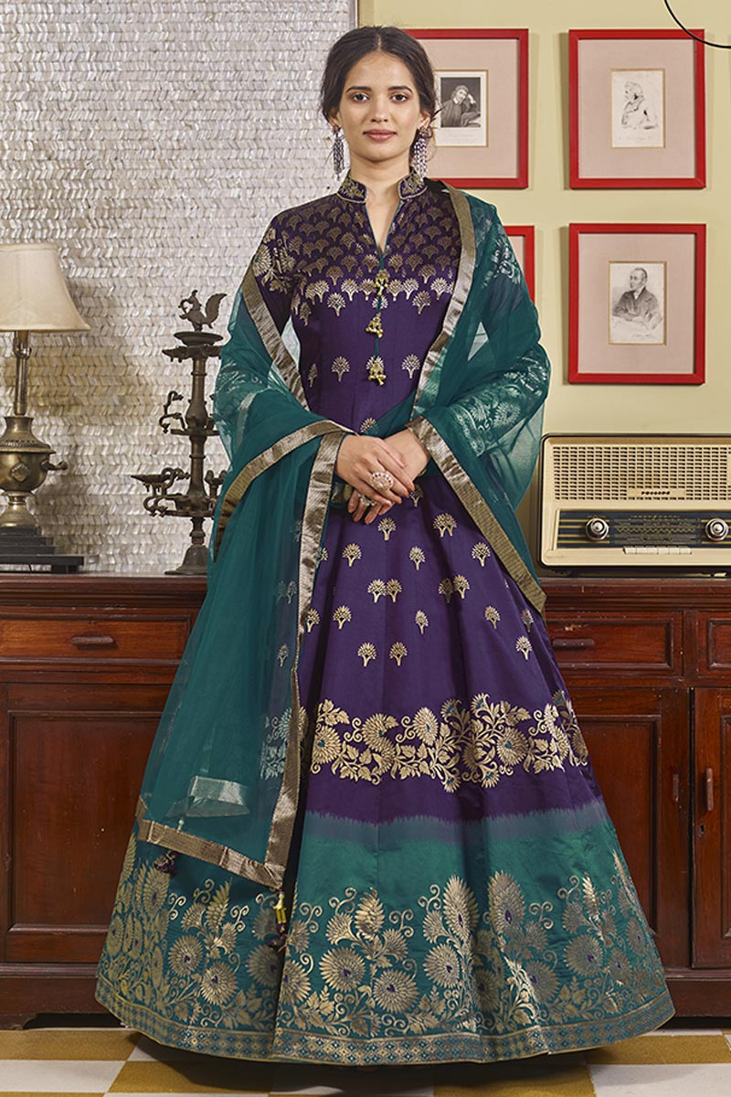 Readymade Purple Color Function Wear Jacquard Fabric Anarkali With Leggings