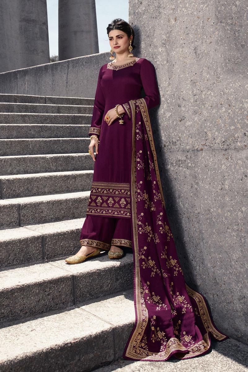 Prachi Desai Embellished Satin Georgette Fabric Designer Party Wear Palazzo Suit In Purple Color