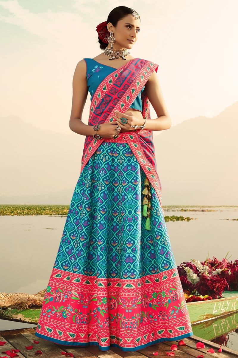 Cyan Color Printed Designer Wedding Wear Art Silk Fabric Lehenga Choli