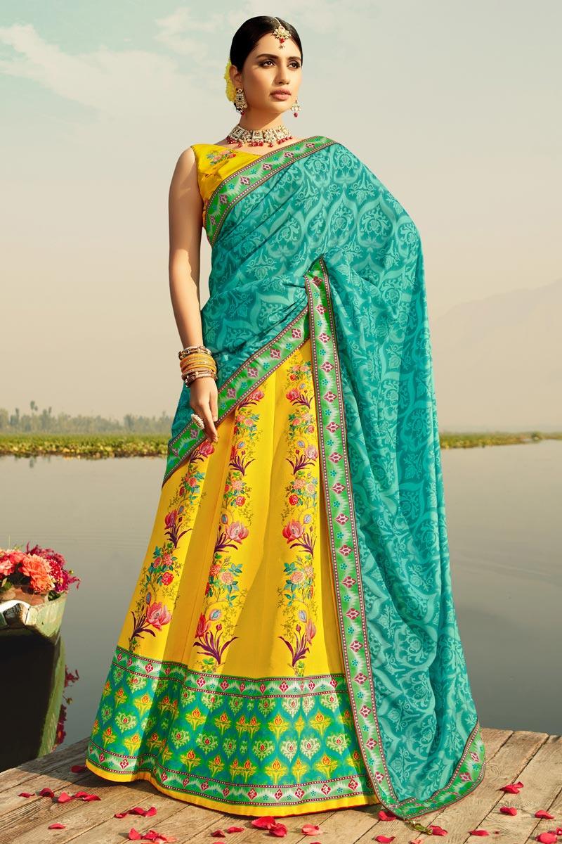 Yellow Color Art Silk Fabric Printed Sangeet Wear Fancy Lehenga Choli
