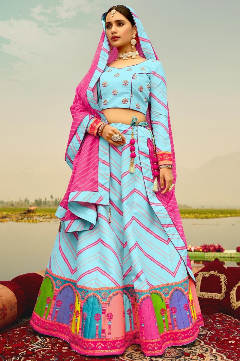Art Silk Fabric Printed Wedding Wear Trendy Lehenga Choli In Sky Blue Color