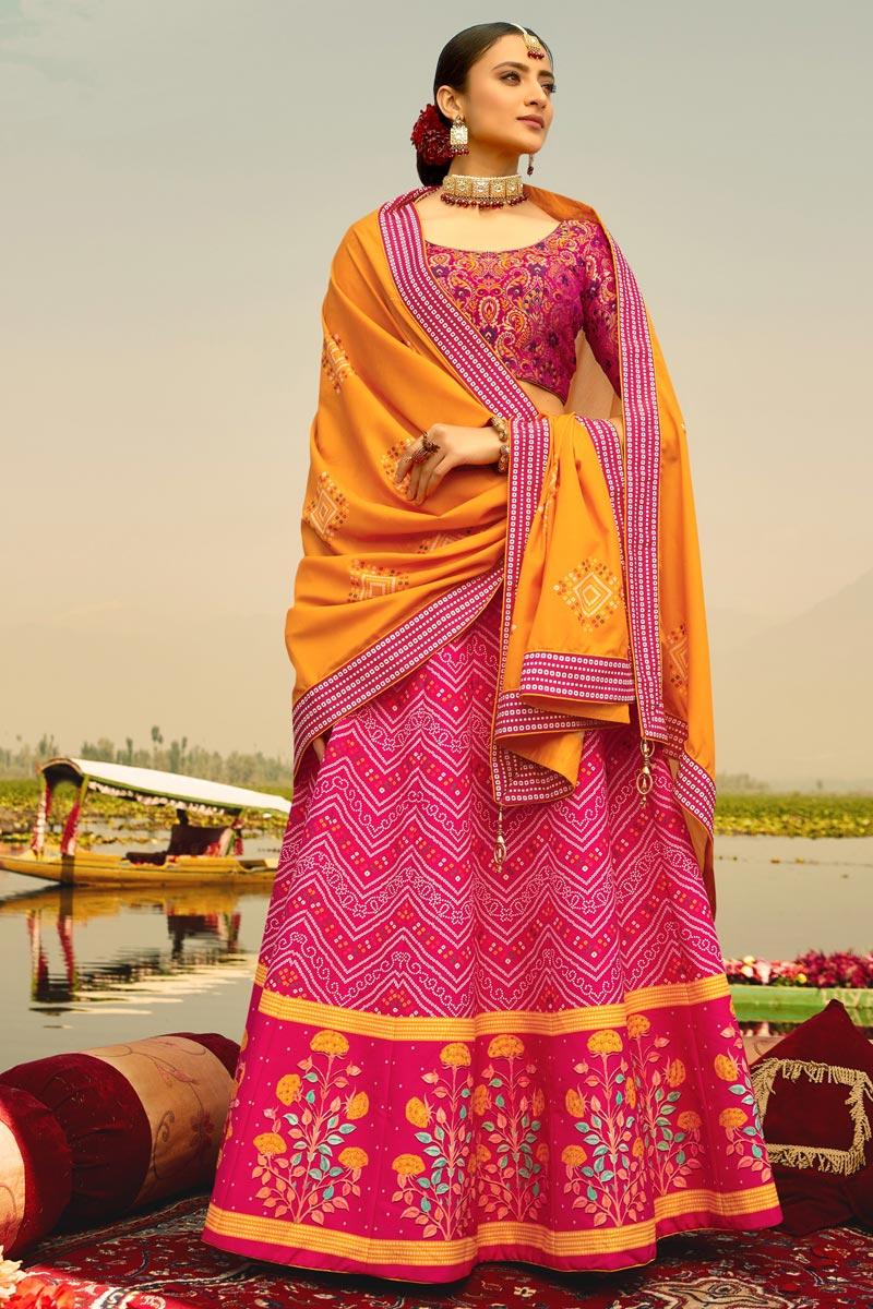 Printed Sangeet Wear Stylish Lehenga Choli In Pink Color Art Silk Fabric