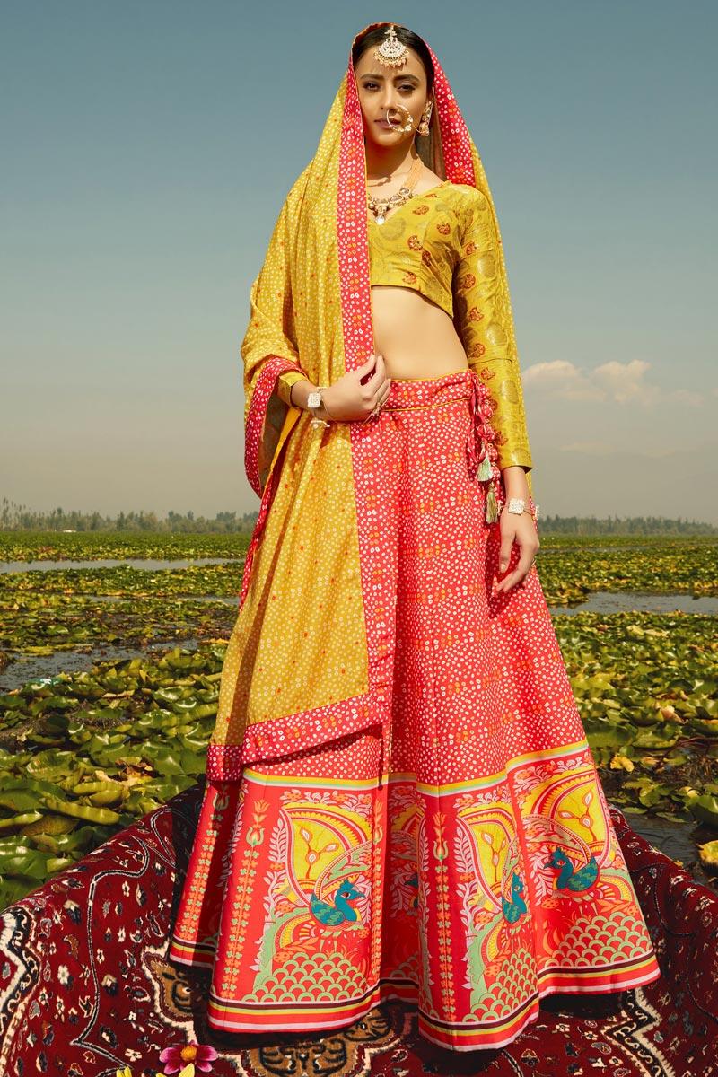 Art Silk Fabric Printed Wedding Wear Designer Lehenga Choli In Red Color