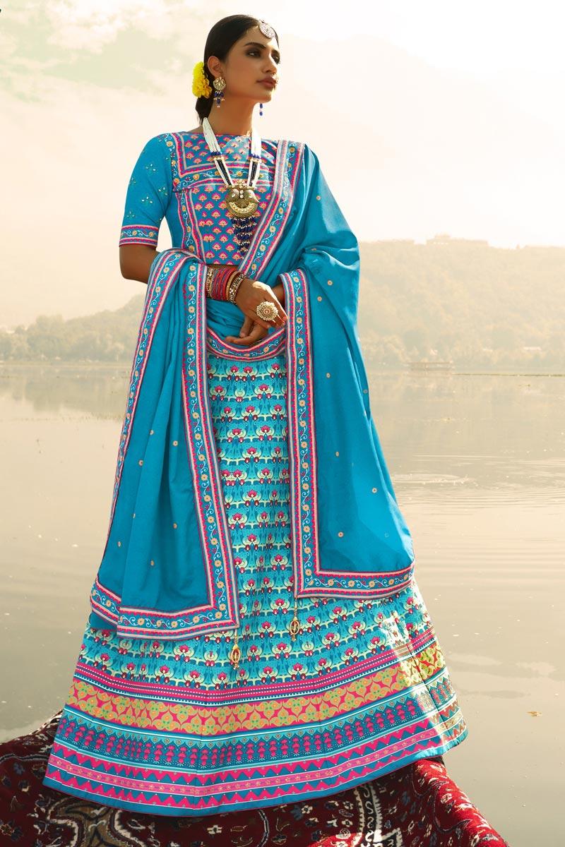 Sky Blue Color Art Silk Fabric Printed Reception Wear Fancy Lehenga Choli