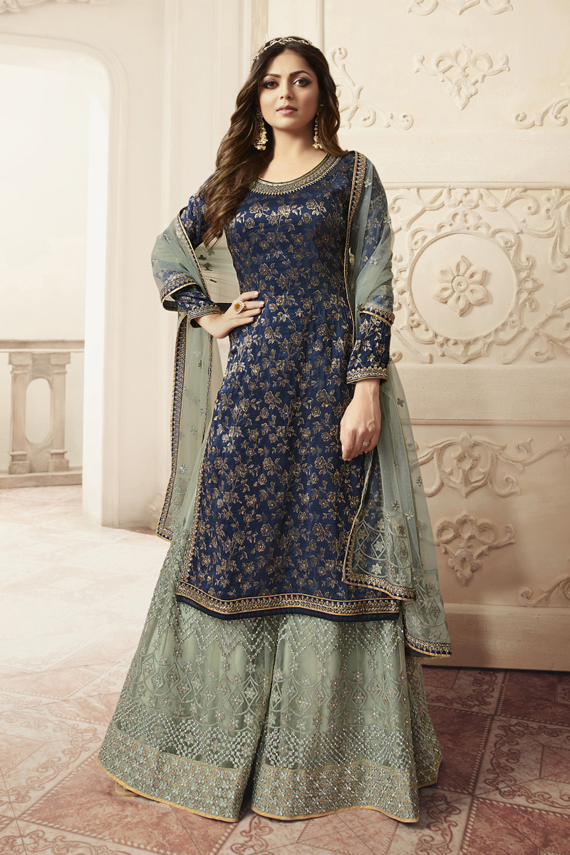 Drashti Dhami Navy Blue Color Embroidered Sharara Style Palazzo Salwar Kameez In Jacquard Fabric