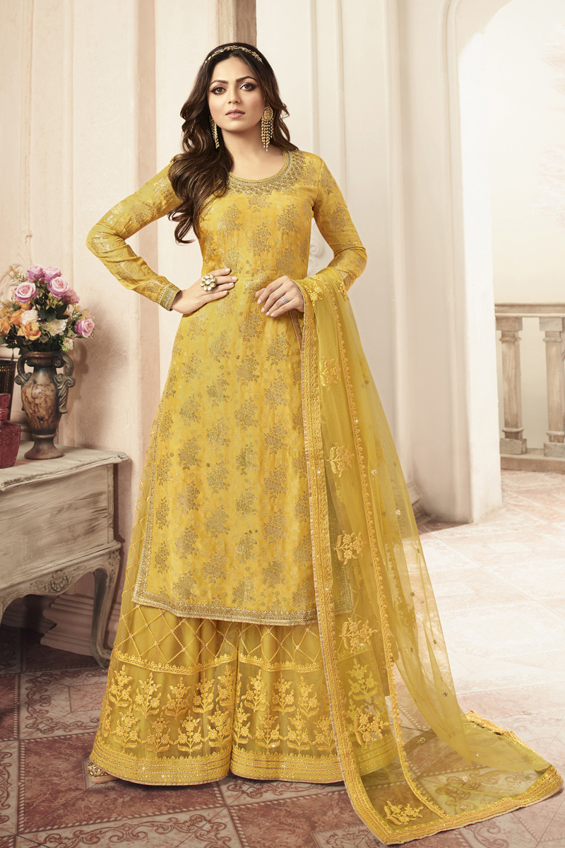 Festive Special Drashti Dhami Embroidery Work Mustard Color Jacquard Fabric Sharara Style Palazzo Salwar Suit