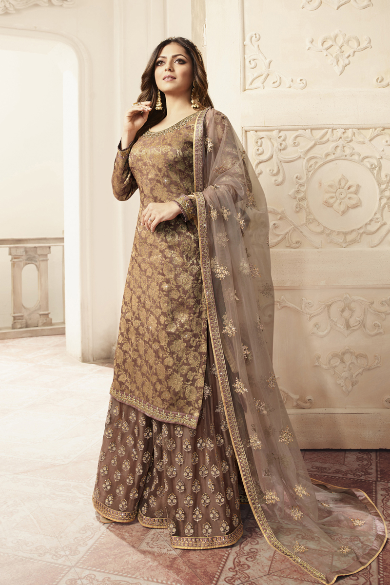 Drashti Dhami Jacquard Fabric Dark Brown Color Sharara Style Palazzo Suit With Embroidery Work