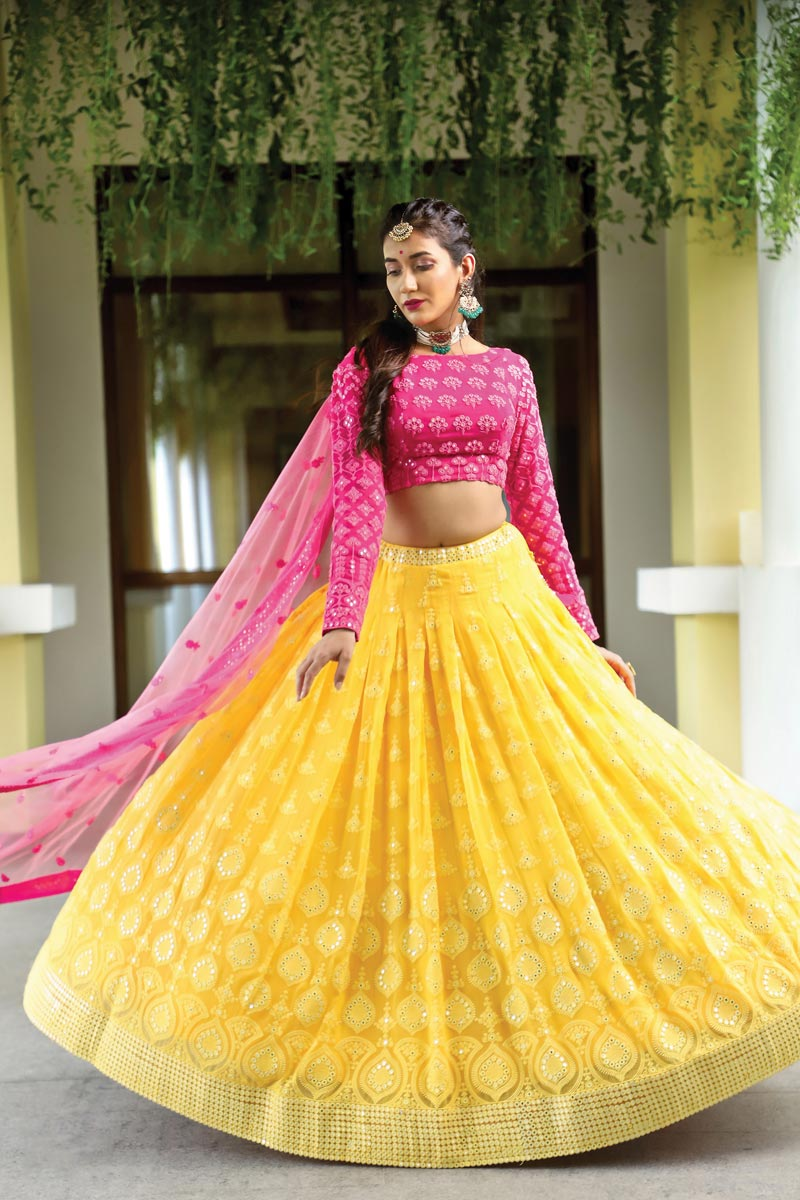 Georgette Fabric Embroidered Yellow Color Wedding Wear Readymade Lehenga Choli