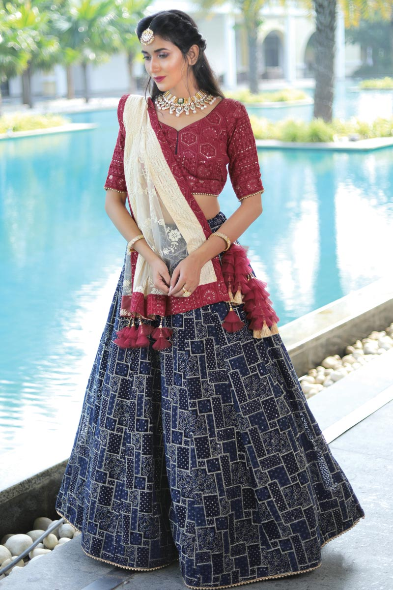 Navy Blue Color Georgette Fabric Reception Wear Readymade Lehenga Choli