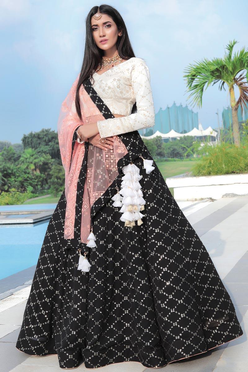 Georgette Fabric Black Color Wedding Wear 3 Piece Readymade Lehenga Choli