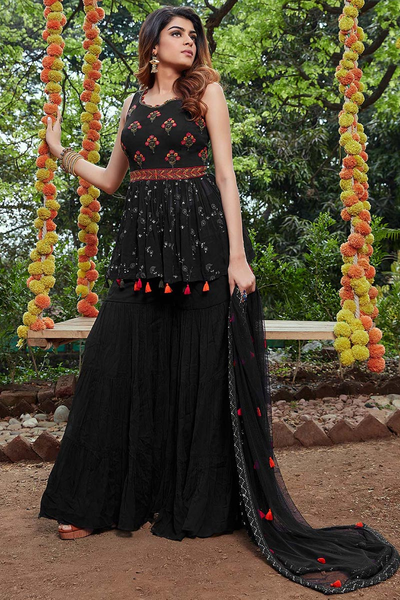 Black Color Festive Wear Embroidered Georgette Fabric Readymade Palazzo Salwar Suit
