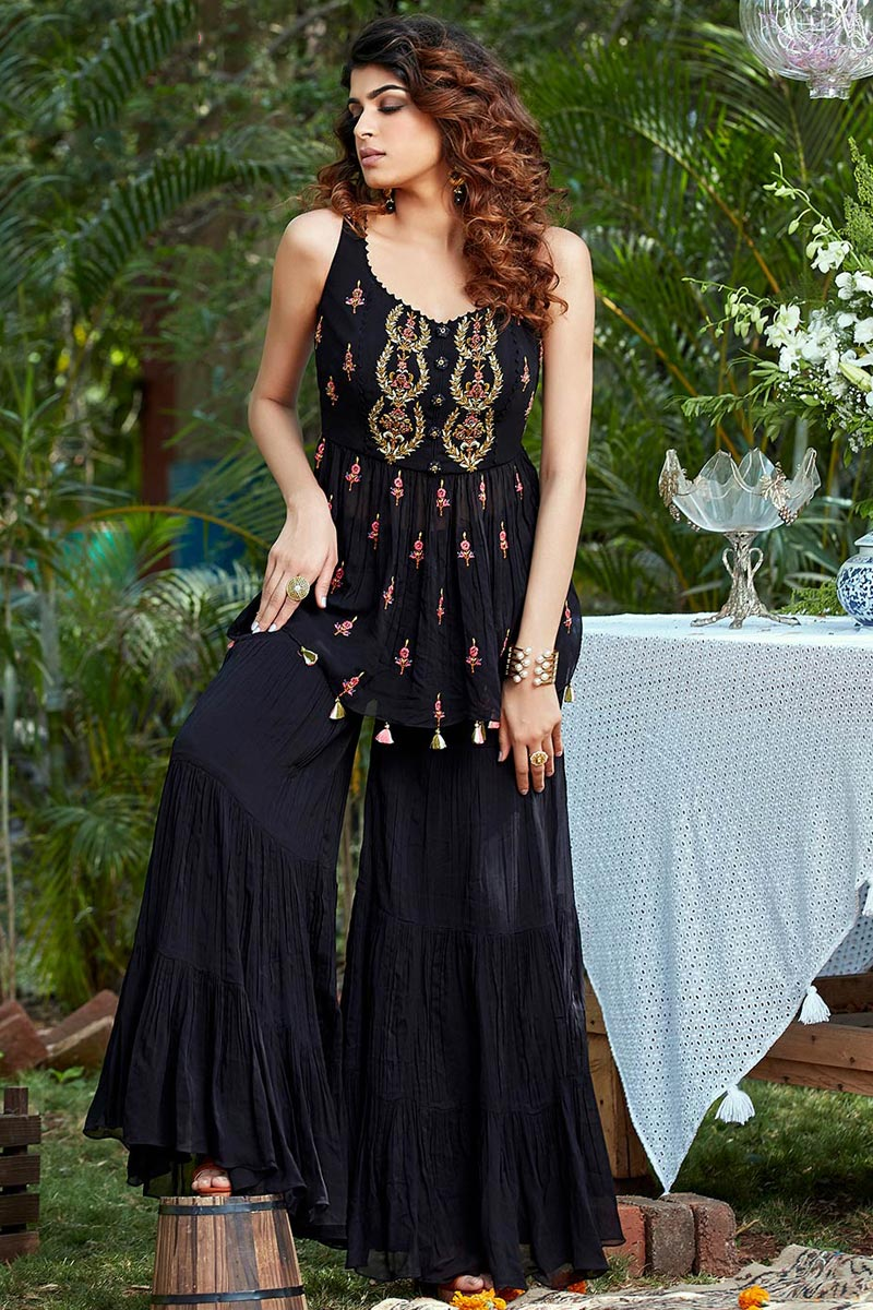 Navy Blue Color Function Wear Embroidered Georgette Fabric Readymade Palazzo Dress