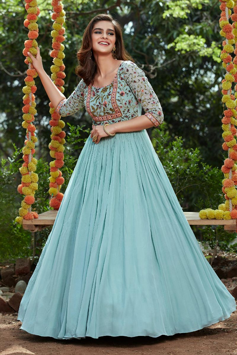 Georgette Fabric Party Wear Cyan Color Embroidered Readymade Anarkali Suit