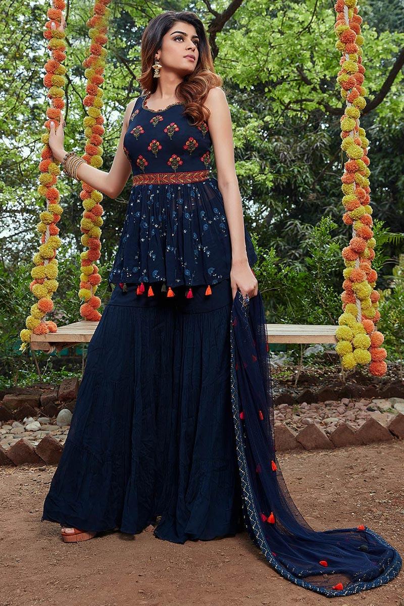 Georgette Fabric Sangeet Wear Embroidered Readymade Palazzo Salwar Kameez