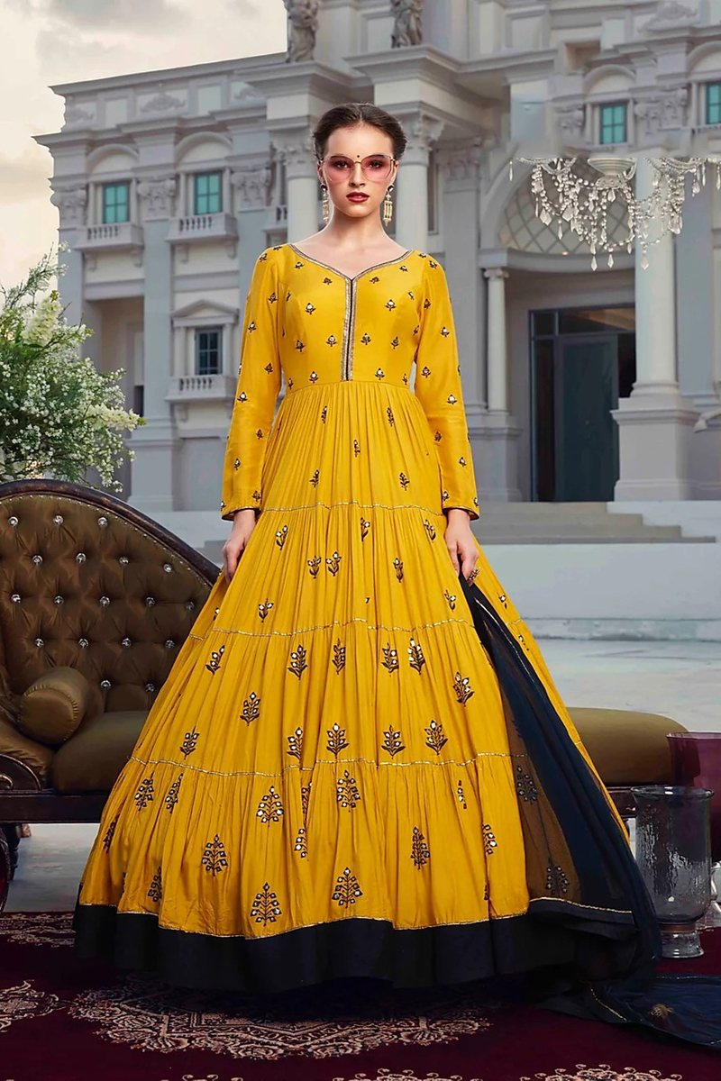 Designer Party Style Georgette Fabric Mustard Color Readymade Gown