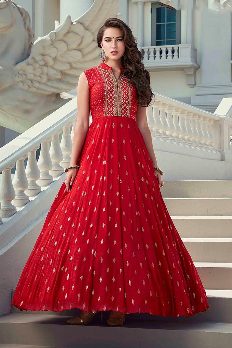 Party Style Red Color Designer Readymade Gown In Georgette Fabric