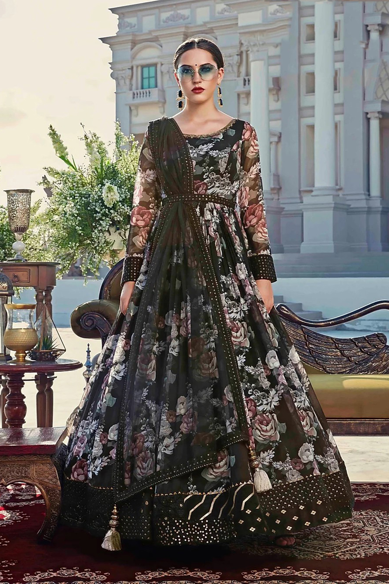 Designer Black Color Party Style Fancy Fabric Readymade Gown