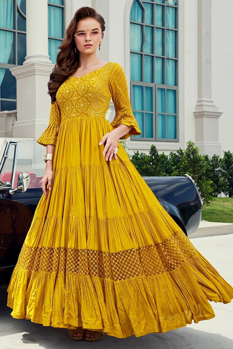 Viscose Fabric Function Wear Readymade Yellow Color Anarkali Suit