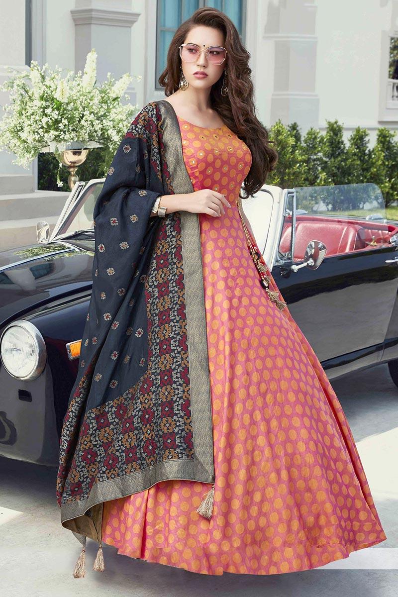 Function Wear Pink Color Art Silk Fabric Readymade Anarkali Dress