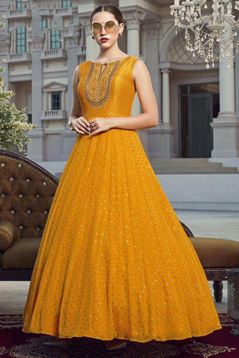 Georgette Fabric Function Wear Readymade Anarkali Suit In Mustard Color