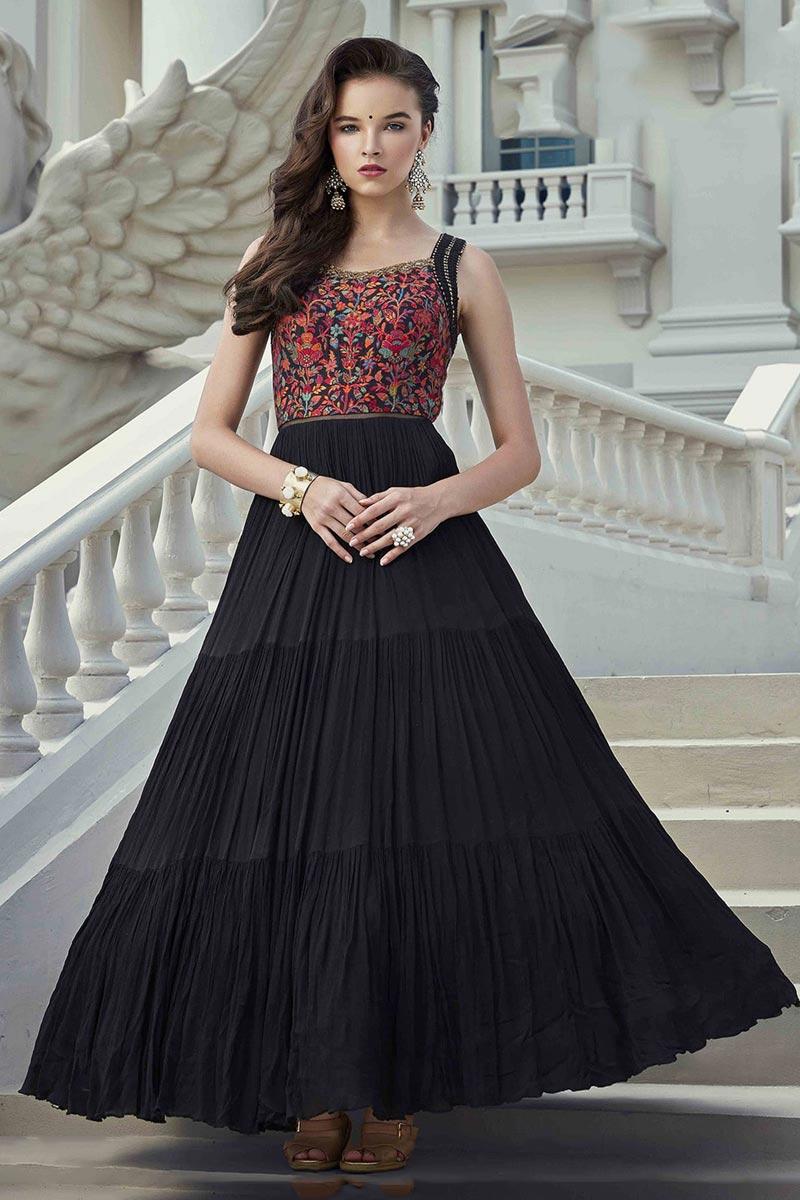 Black Color Function Wear Georgette Fabric Readymade Anarkali Dress