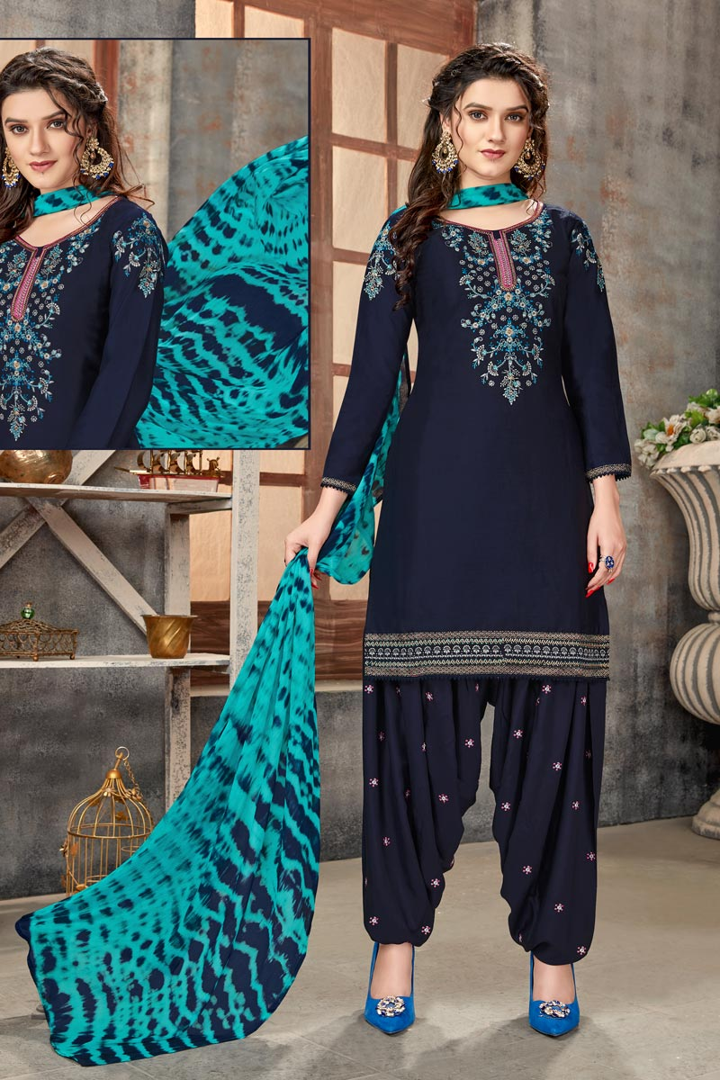 Regular Wear Cotton Fabric Embroidered Patiala Suit In Navy Blue Color