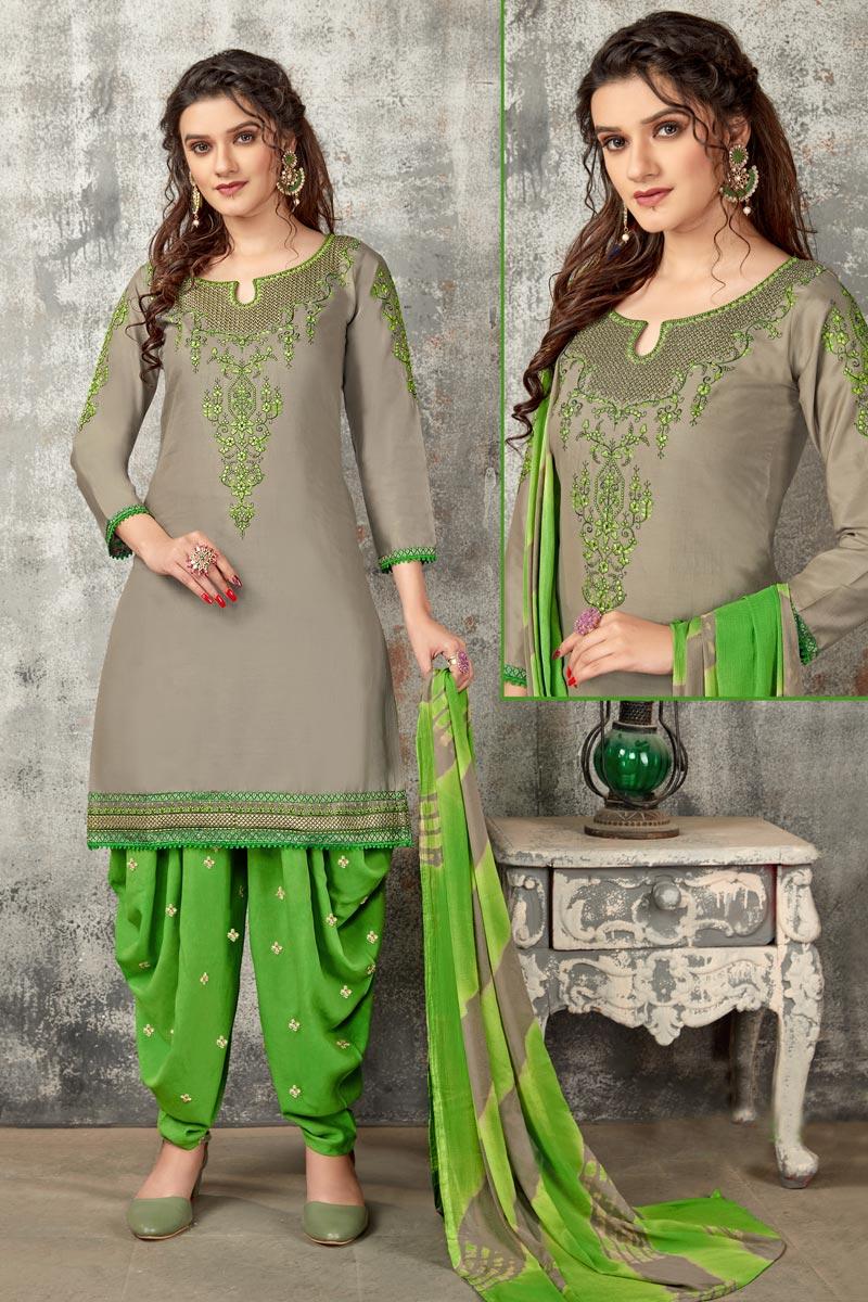 Cotton Fabric Regular Wear Embroidered Dark Beige Color Patiala Dress