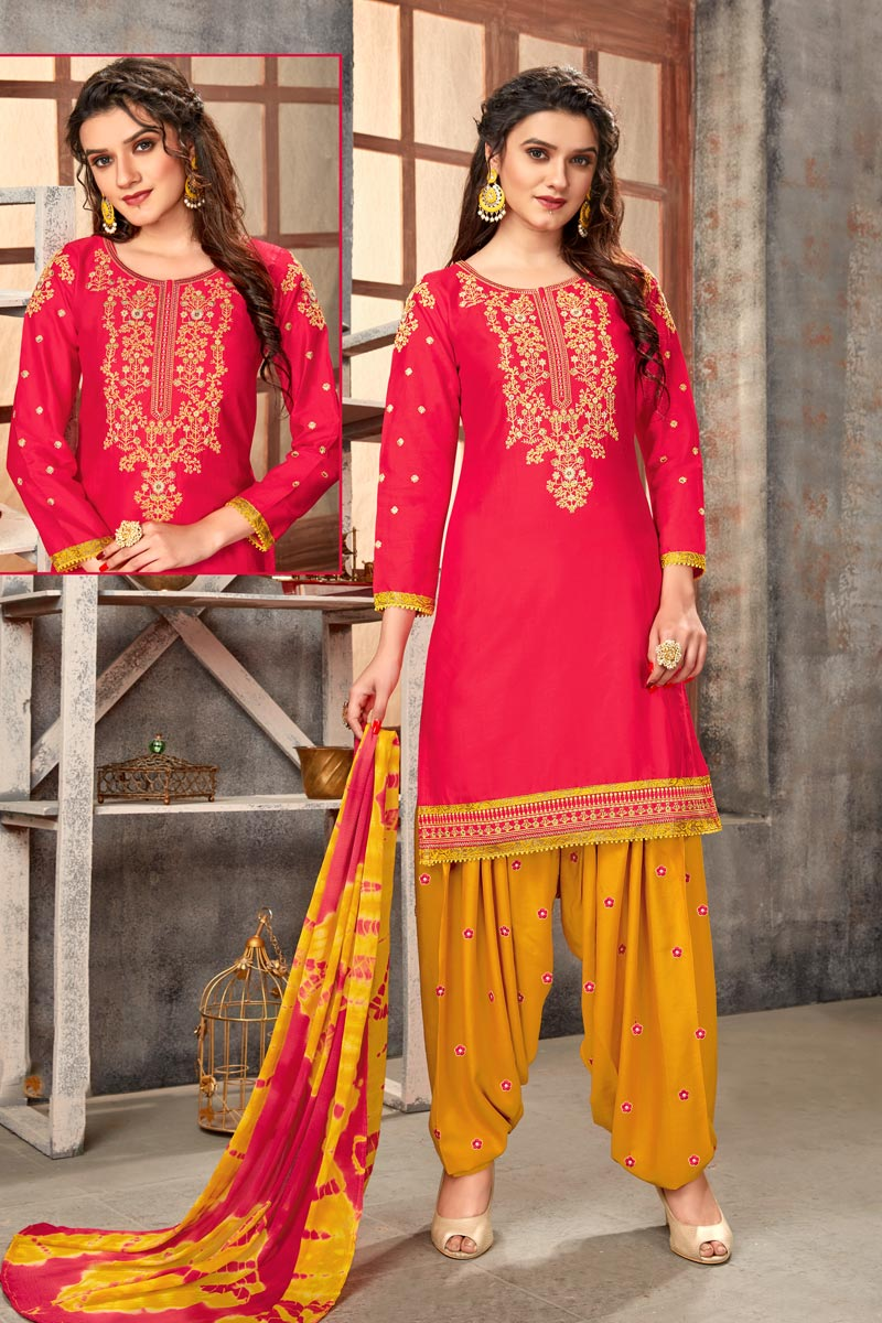 Cotton Fabric Regular Wear Embroidered Red Color Patiala Suit