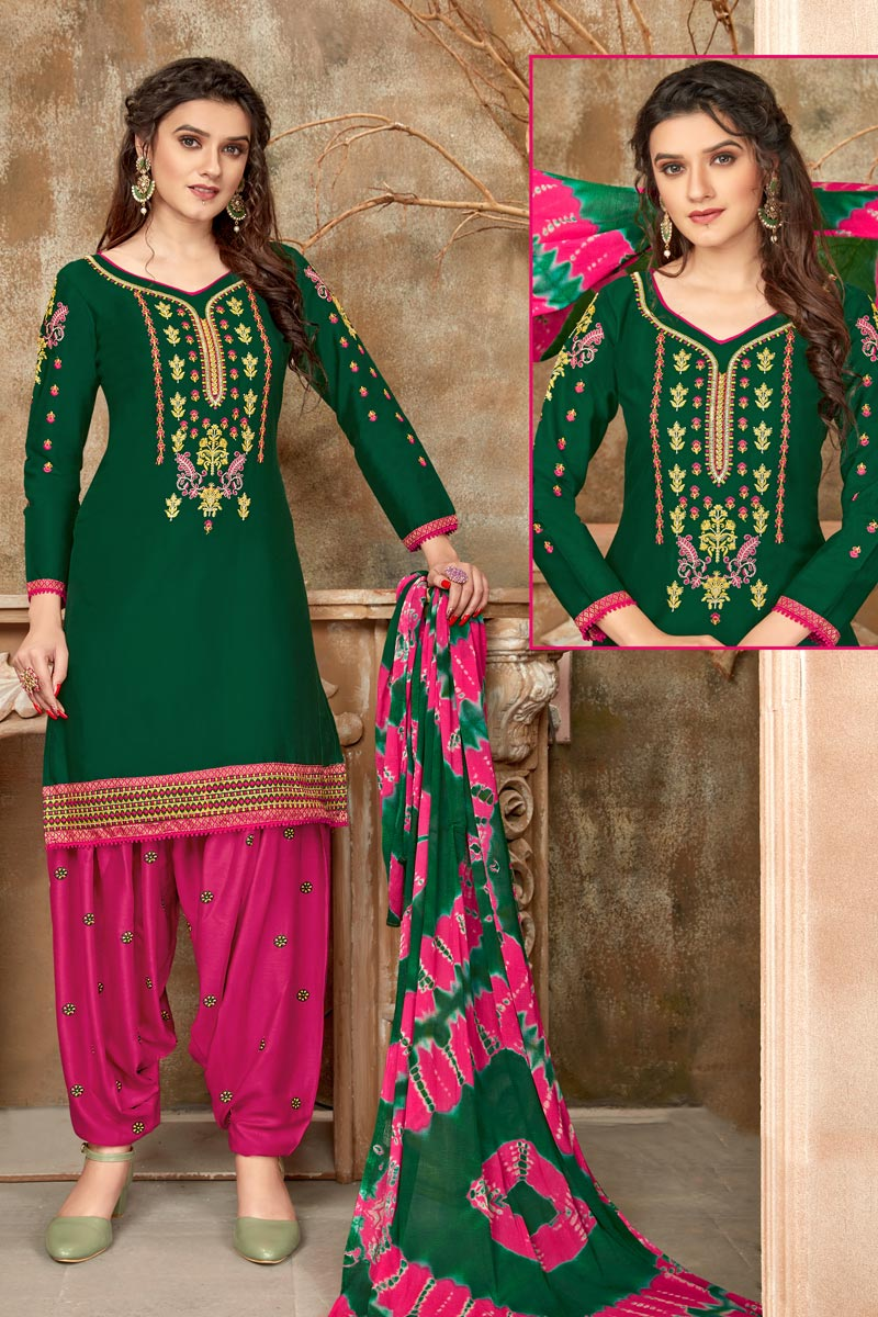 Regular Wear Dark Green Color Embroidered Patiala Dress In Cotton Fabric