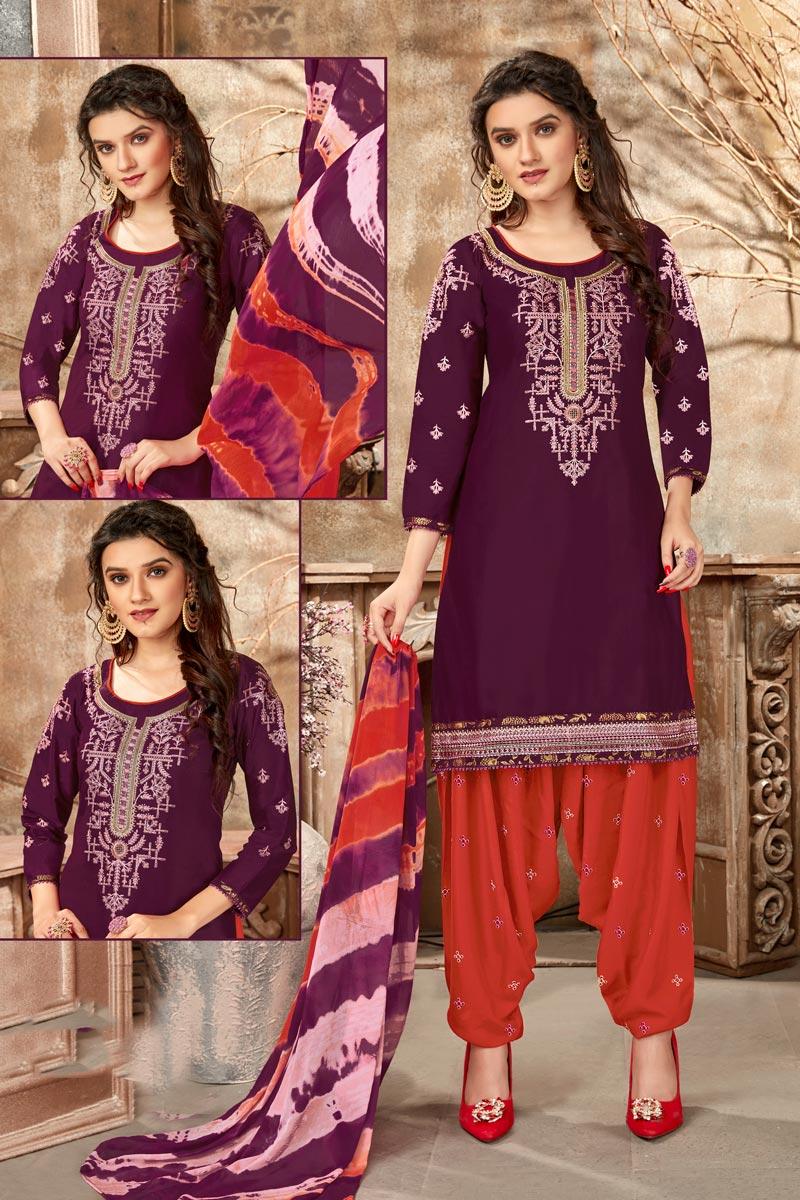 Purple Color Cotton Fabric Regular Wear Embroidered Patiala Suit