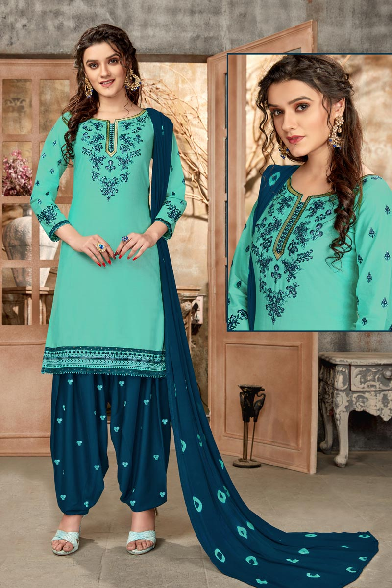 Regular Wear Cyan Color Embroidered Patiala Suit In Cotton Fabric