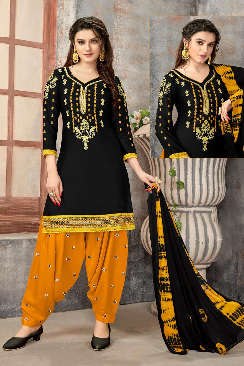 Black Color Regular Wear Embroidered Cotton Fabric Patiala Dress