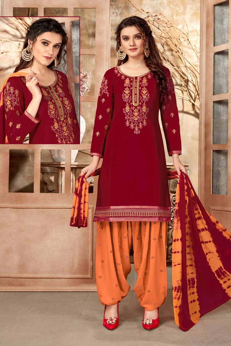 Maroon Color Regular Wear Embroidered Cotton Fabric Patiala Suit