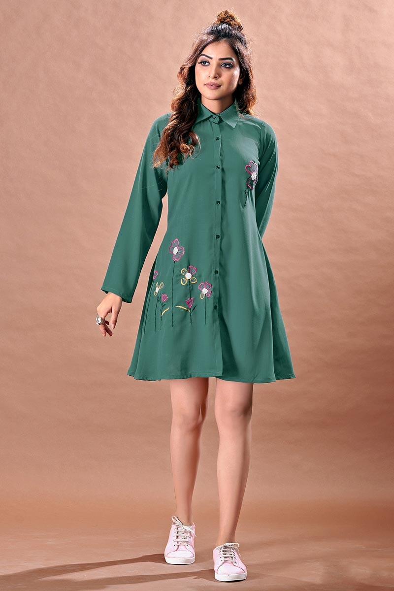 Chinon Fabric Teal Color Cocktail Party Kurti