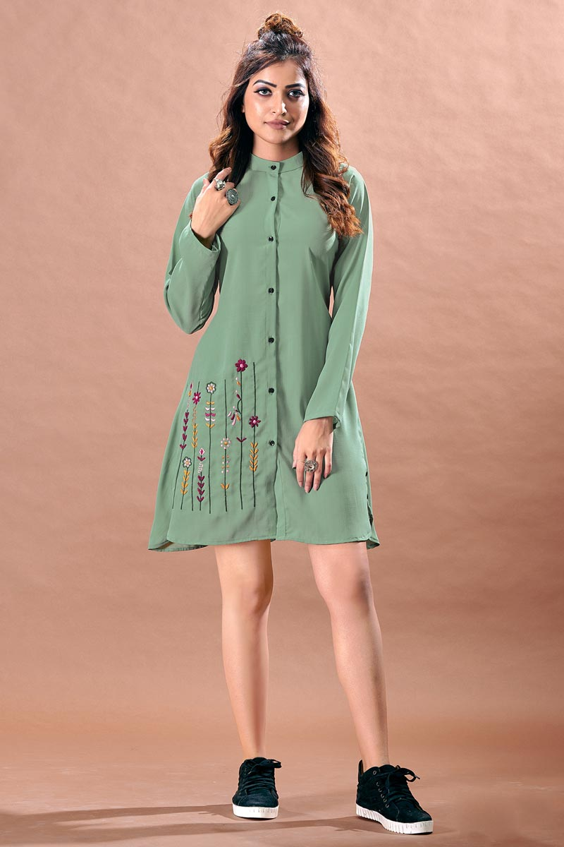 Sea Green Color Cocktail Party Stylish Chinon Fabric Kurti