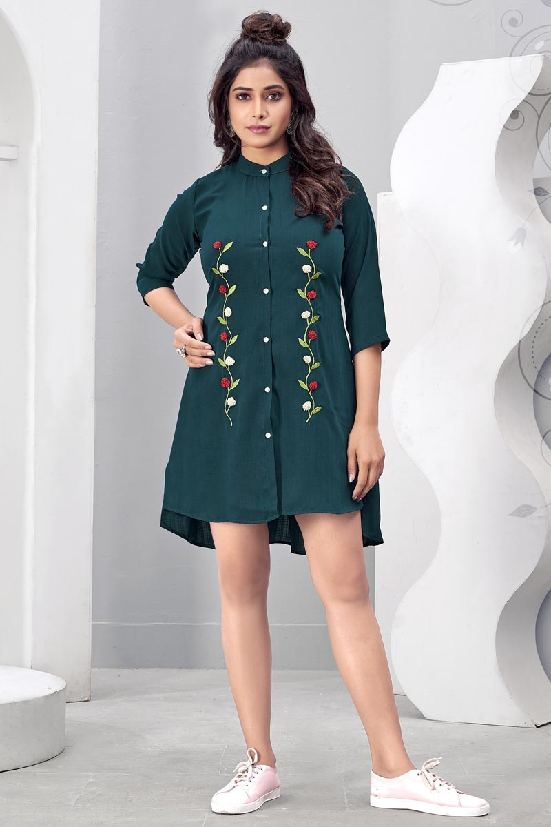 Designer Party Wear Teal Color Chinon Fabric Kurti