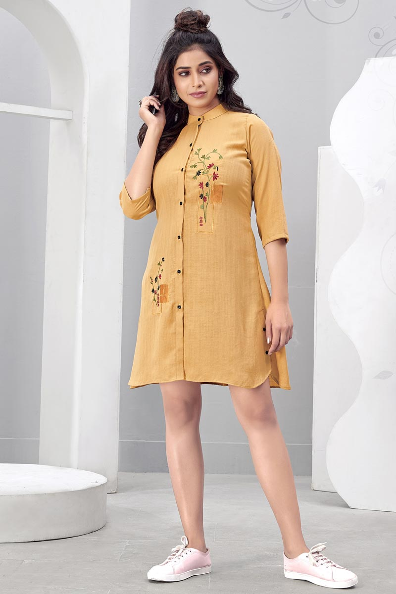 Beige Color Party Wear Kurti In Chinon Fabric