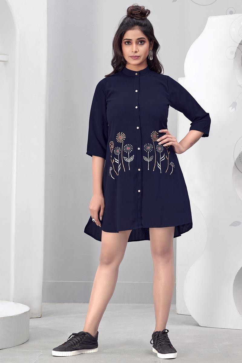 Chinon Fabric Navy Blue Color Party Wear Designer Kurti