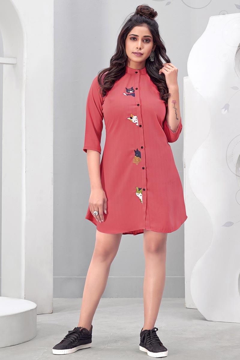 Peach Color Party Wear Designer Chinon Fabric Kurti