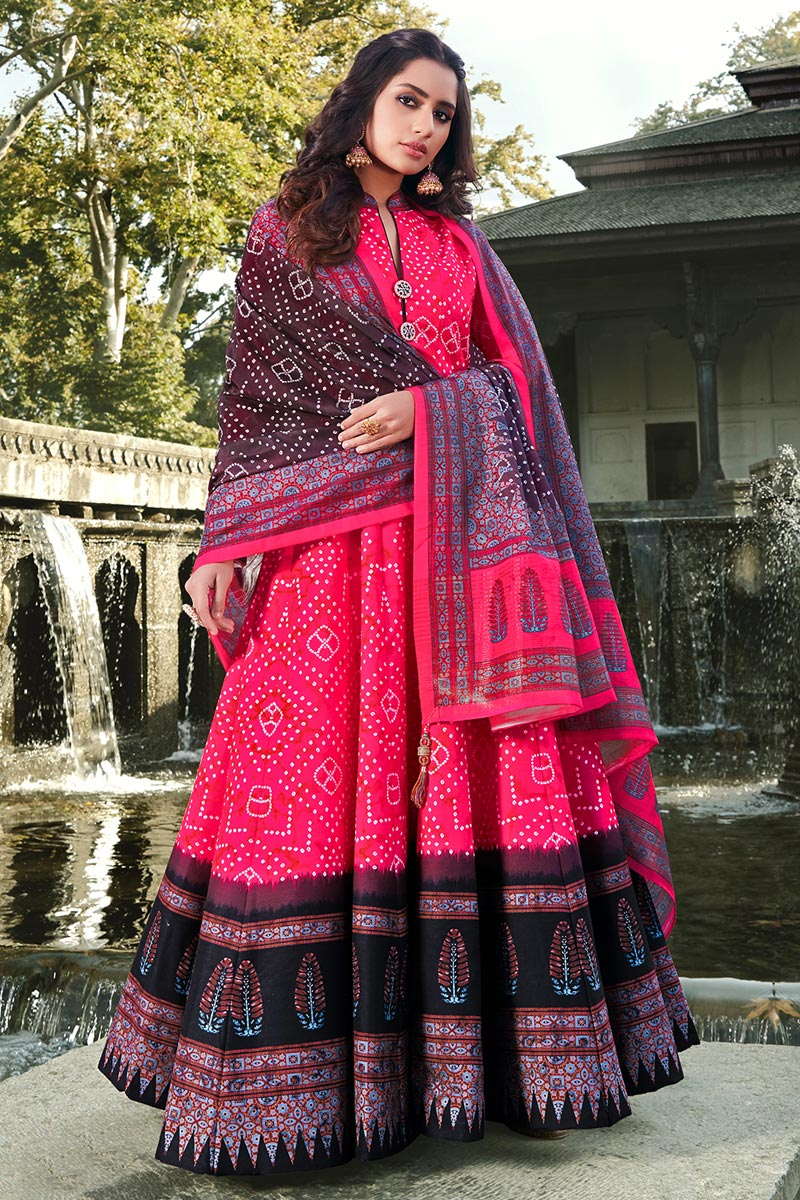 Rani Color Party Wear Readymade Printed Anarkali With Leggings In Art Silk