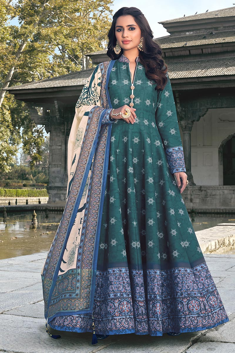Art Silk Teal Color Party Wear Readymade Printed Anarkali With Leggings