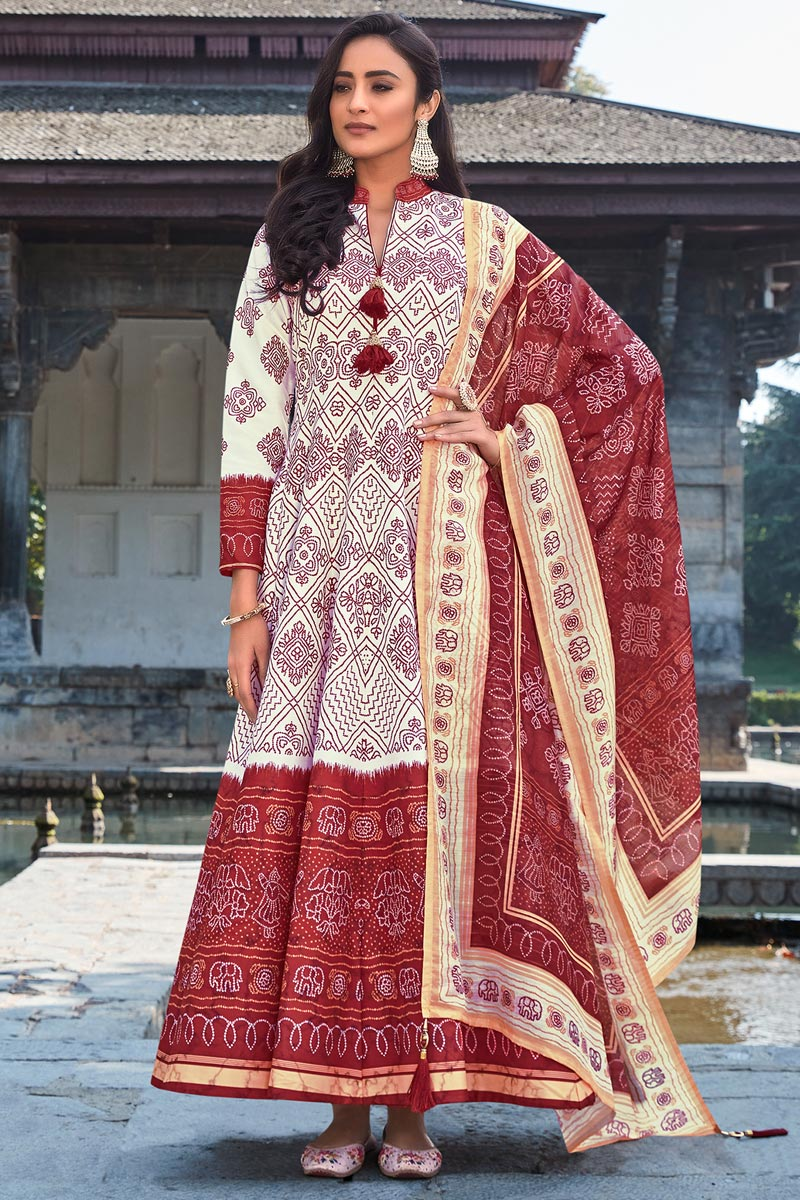 Party Wear Readymade Art Silk Printed Anarkali With Leggings In Off White Color