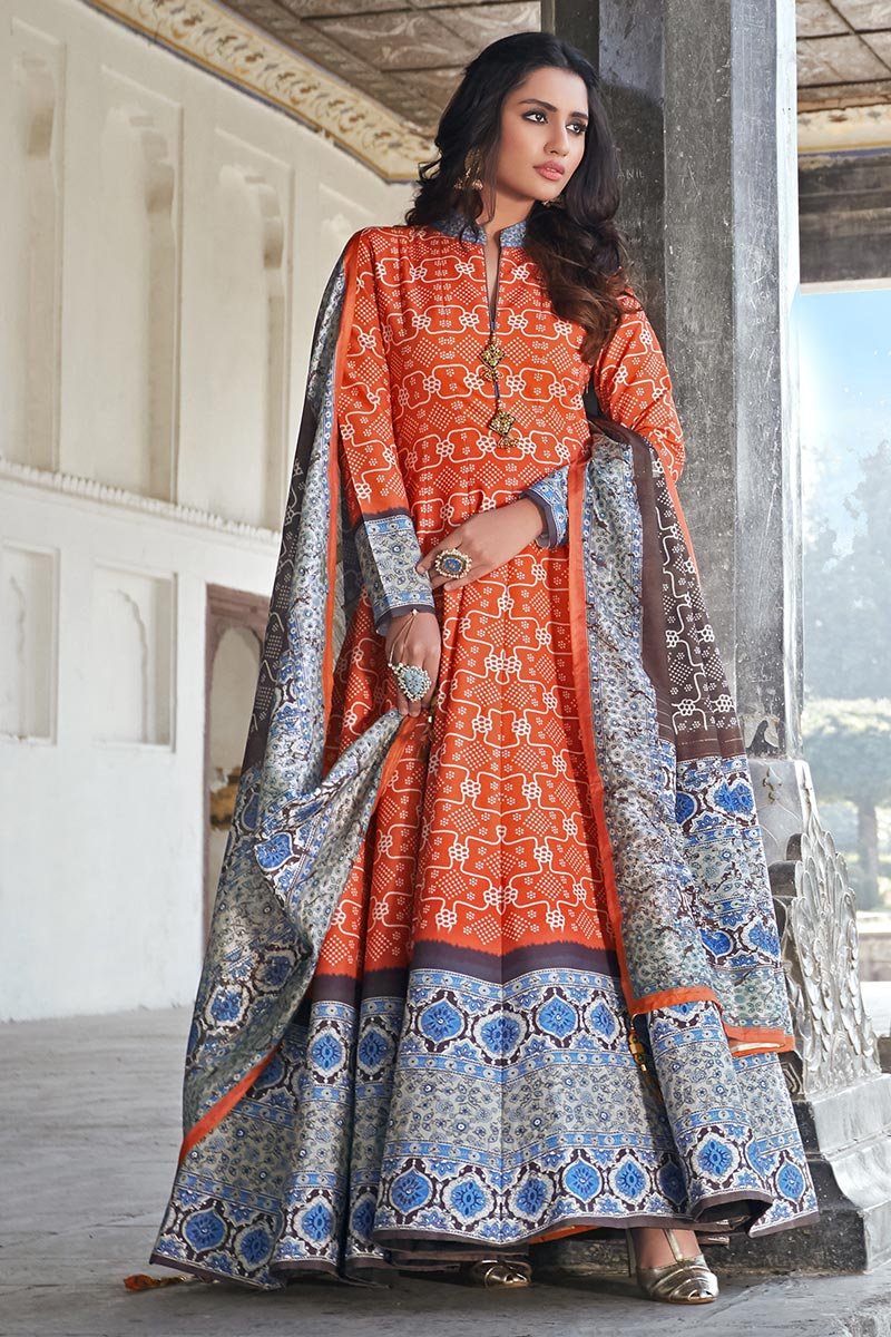 Party Wear Art Silk Readymade Orange Color Printed Anarkali With Leggings