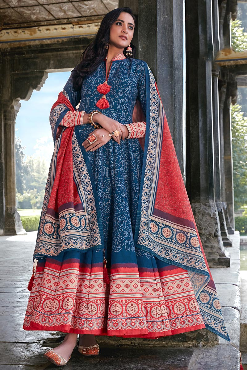 Art Silk Party Wear Readymade Printed Anarkali With Leggings In Blue Color